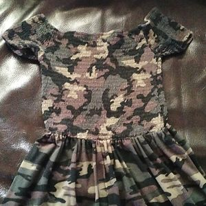 Camo Off Shoulder Dress Size Small EUC